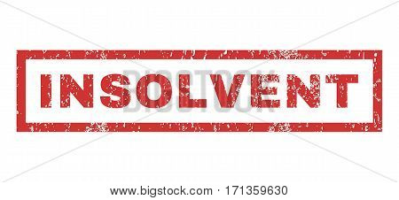 Insolvent text rubber seal stamp watermark. Tag inside rectangular shape with grunge design and dust texture. Horizontal vector red ink sticker on a white background.