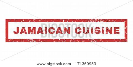 Jamaican Cuisine text rubber seal stamp watermark. Caption inside rectangular banner with grunge design and dust texture. Horizontal vector red ink emblem on a white background.