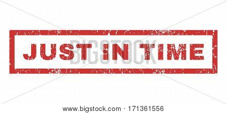 Just In Time text rubber seal stamp watermark. Caption inside rectangular banner with grunge design and scratched texture. Horizontal vector red ink sticker on a white background.