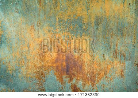 texture of old rusty shabby background with scratches, with the remnants of blue paint