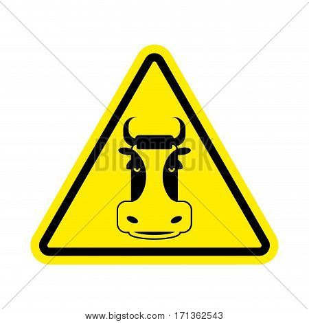 Warning Cow. Beef On Yellow Triangle. Road Sign Attention To Farm Animal