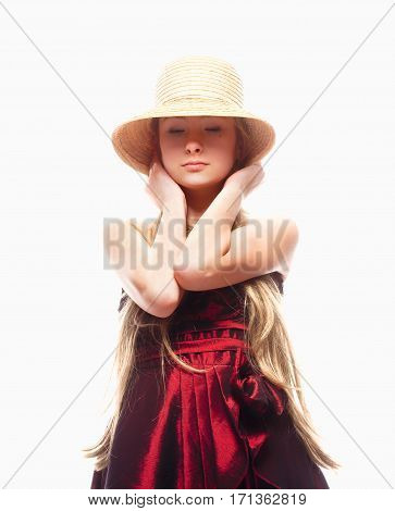Girl with Blond Hair in Red Dress Stray Hat on her Head