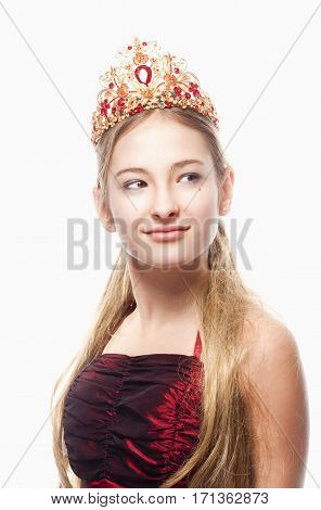 Girl with Blond Hair in Red Dress and Crown on her Head