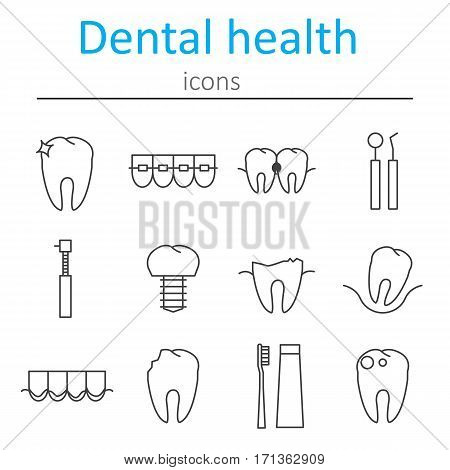 Set of icons in the style of the line on the disease and treatment of the teeth. Taking care of dental health. Vector illustration.