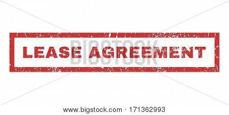 Lease Agreement text rubber seal stamp watermark. Caption inside rectangular shape with grunge design and dust texture. Horizontal vector red ink sticker on a white background.