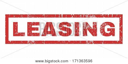 Leasing text rubber seal stamp watermark. Tag inside rectangular shape with grunge design and scratched texture. Horizontal vector red ink sticker on a white background.