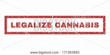 Legalize Cannabis text rubber seal stamp watermark. Caption inside rectangular shape with grunge design and unclean texture. Horizontal vector red ink sticker on a white background.