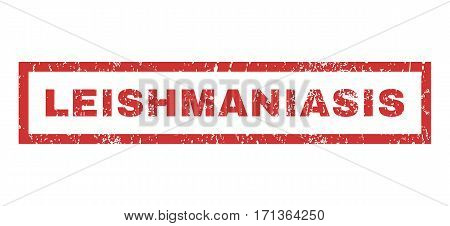 Leishmaniasis text rubber seal stamp watermark. Tag inside rectangular shape with grunge design and unclean texture. Horizontal vector red ink sign on a white background.