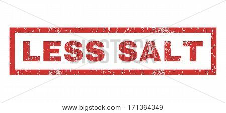 Less Salt text rubber seal stamp watermark. Caption inside rectangular shape with grunge design and dirty texture. Horizontal vector red ink sticker on a white background.