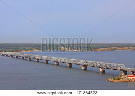 Imperial Bridge Across The Volga River In Ulyanovsk