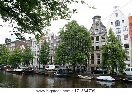 Netherlands Amsterdam June 2016: The Keizersgracht has a lot of historic houses with stepped gables
