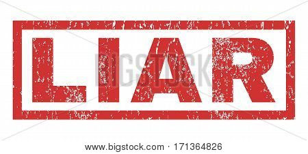 Liar text rubber seal stamp watermark. Caption inside rectangular shape with grunge design and unclean texture. Horizontal vector red ink emblem on a white background.