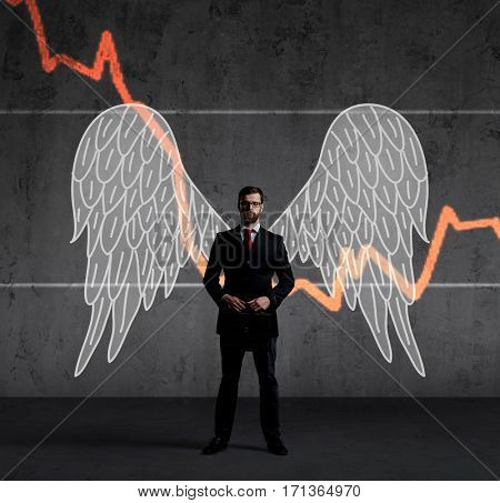 Business angel standing over diagram background. Crisis, investment, sponsoring, concept.
