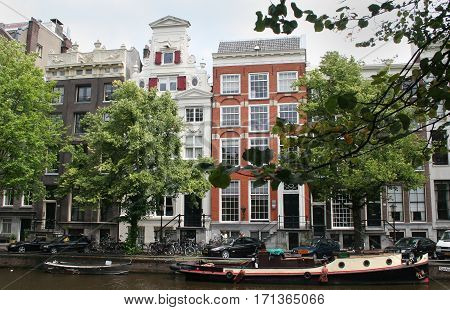 Netherlands Amsterdam June 2016: The Keizersgracht domiciliate stepped gable houses