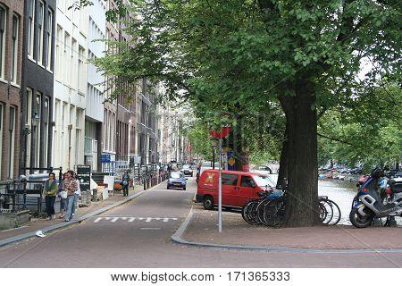 Netherlands Amsterdam June 2016: Street-life on the Keizersgracht