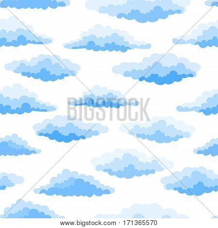 Cartoon Color Clouds Seamless Pattern. Background with various vector cartoon clouds on white background. Sky with clouds.