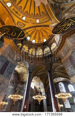 Istanbul, Turkey - April 07, 2013: Hagia Sophia interior at Istanbul Turkey - architecture background