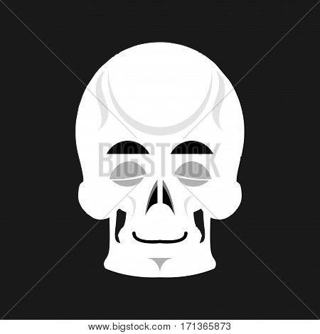 Skull Sleeps Emoji. Skeleton Head Asleep Emotion Isolated