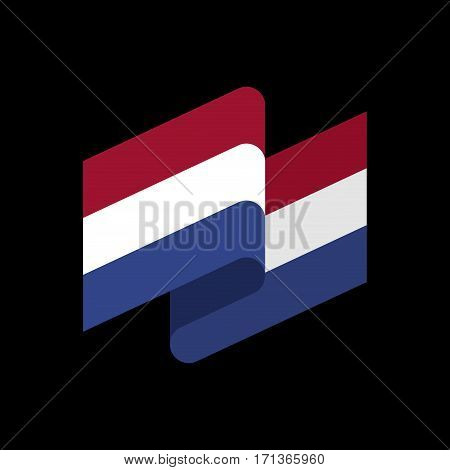 Netherlands Flag Ribbon Isolated. Dutch Tape Banner. National Symbol Of Countrys Public