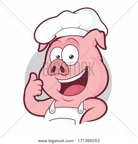 Clipart picture of a pig chef cartoon character giving thumbs up in round frame