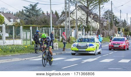Conflans-Sainte-HonorineFrance-March 62016: The French cyclist Steven Tronet of Fortuneo-Vital Concept Team riding during the prologue stage of Paris-Nice 2016.