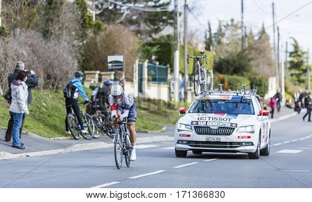 Conflans-Sainte-HonorineFrance-March 62016: The Belgian cyclist Jonas van Genechten of IAM Cycling Team riding during the prologue stage of Paris-Nice 2016.