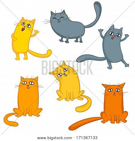 Vector set of cute cartoon cats in various poses isolated on white