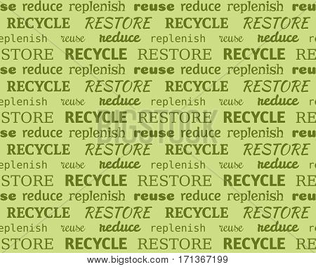 Green eco seamless typographic pattern made of words recycle reduce restore replenish reuse. Earth Day text background. Environment protection design. Earth hour design.
