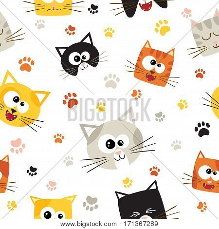 Vector seamless pattern with cute cartoon cats. Seamless pattern can be used for wallpaper, web page background, surface textures.