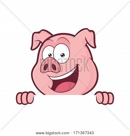 Clipart picture of a pig cartoon character holding and looking over a blank sign board