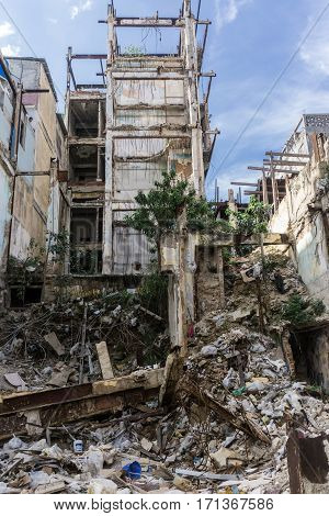 destroyed old building on december 26 2016 in La Havana Cuba