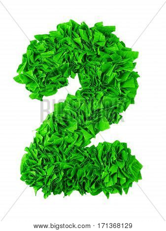 Two. Handmade number 2 from gree crepe paper isolated on white background. Set of numbers from scraps of paper