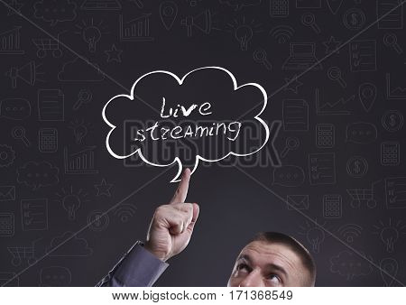 Business, Technology, Internet And Marketing. Young Businessman Thinking About: Live Streaming