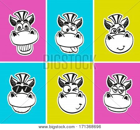 Set of cheerful muzzles with different emotions