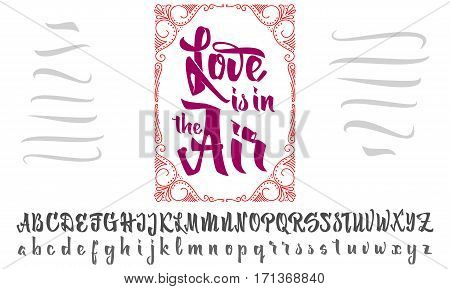 Love is in air Font drawn on the basis of handwriting calligraphy, modern cursive script brush.