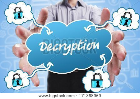Business, Technology, Internet And Marketing. Young Businessman Thinking About: Decryption