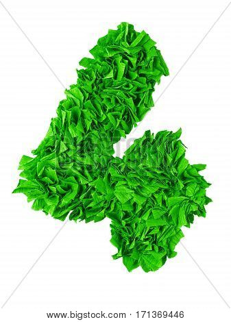Four. Handmade number 4 from green crepe paper isolated on white background. Set of numbers from scraps of paper