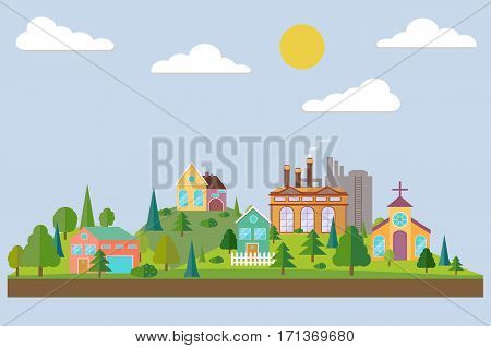 Eco village with plant or factory building in flat style. Summer forest in flat style. Vecot illustration.