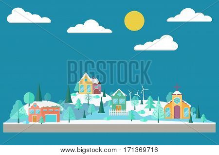 Eco village. Forest in flat style. Winter forest. Eco lifestyle. Ecosystem. Eco tourism. Vector illustration
