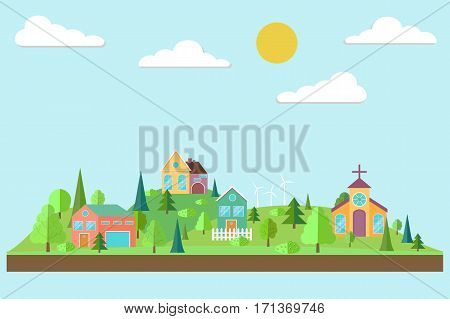 Eco village. Forest in flat style. Spring forest. Eco lifestyle. Ecosystem. Eco tourism. Vector illustration
