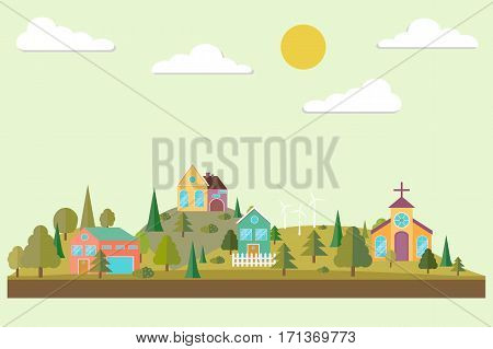 Eco village. Forest in flat style. Autumn forest. Eco lifestyle. Ecosystem. Eco tourism. Vector illustration