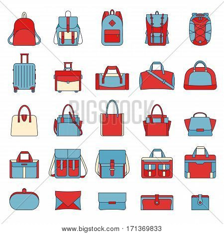 Colorful set of women's and men's bags. Many types of casual handbag. Isolated illustrations on white background. Retro style. Travel luggage, sports bags, clutches. Filled outline icons