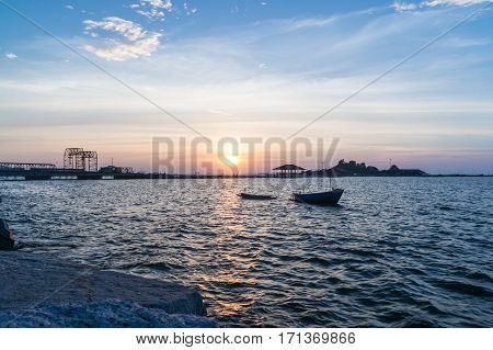 Koh Loi in during sunset from public park of sriracha view point chonburi province