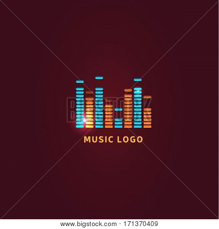 Colorful ui ux music equalizer sound waves. Audio electronic bar. Music waves logo. Dj vector illustration. Bright shiny light audio signal.