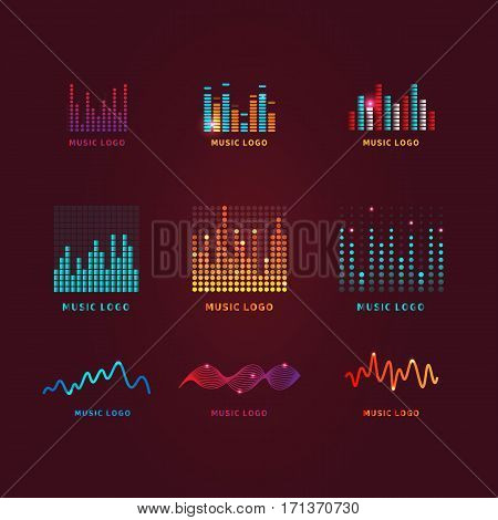 Set colorful ui ux music equalizer sound waves. Audio electronic bar. Music waves logo. Dj vector illustration.Bright shiny light audio signal.