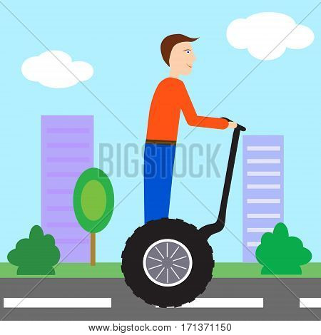 Young man riding segway gyropode electric two wheels vehicle on a city tour - vector illustration minimalistic.