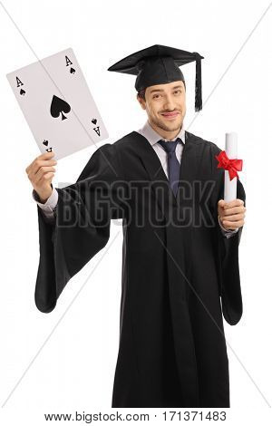 Graduate student holding an ace of spades card and a diploma isolated on white background
