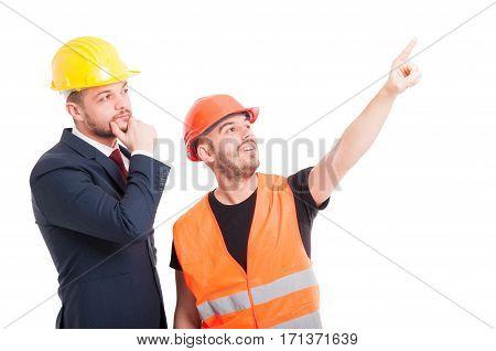 Handsome Constructor Pointing Finger Up