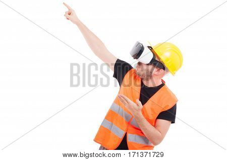 Excited Constructor With Virtual Goggles