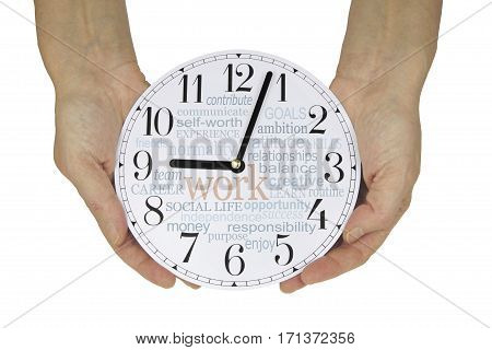 Why and what do we work for - female hands holding a clock face showing 3 minutes past nine o'clock (work has begun) with a WORK word cloud on the clock face isolated on a white background